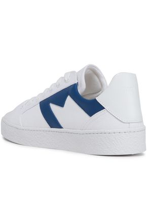 MAJE Frenchie leather-appliquéd canvas sneakers