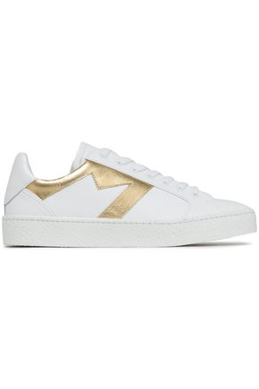MAJE Smooth and metallic leather sneakers