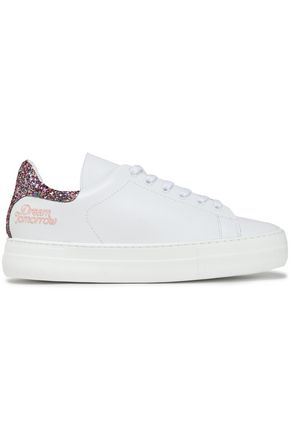 MAJE Fanny glitter-paneled embroidered leather sneakers