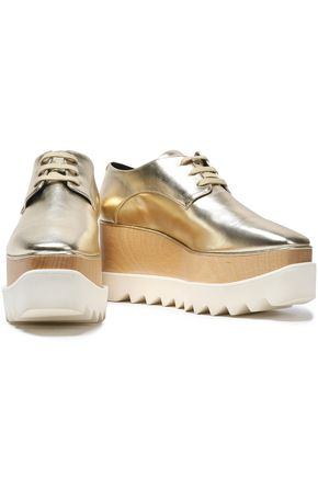 STELLA McCARTNEY Metallic faux leather platform brogues