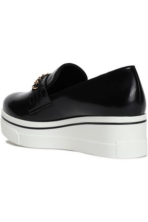STELLA McCARTNEY Chain-embellished faux patent-leather platform loafers