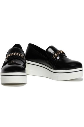 476db50ef362 STELLA McCARTNEY Chain-embellished faux patent-leather platform loafers