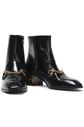 STELLA McCARTNEY Chain-embellished faux patent-leather ankle boots