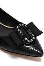 MARC JACOBS Bow-embellished snake-effect leather point-toe flats