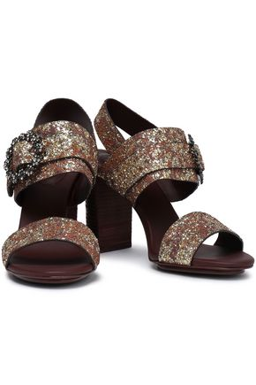 SEE BY CHLOÉ Rosie crystal-embellished glittered leather sandals