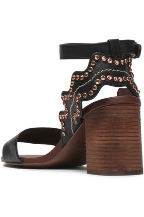 SEE BY CHLOÉ Crystal-embellished scalloped leather sandals