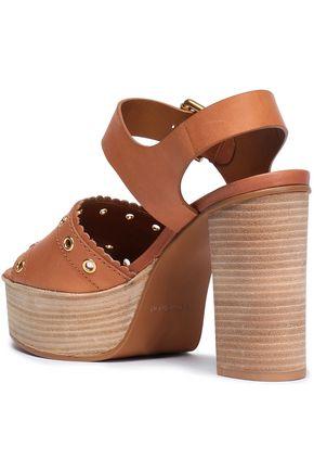 SEE BY CHLOÉ Eyelet-embellished leather platform sandals