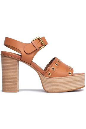 f8f278985a2f SEE BY CHLOÉ Eyelet-embellished leather platform sandals