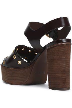 SEE BY CHLOÉ Nora eyelet-embellished glossed-leather platform sandals