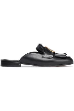 MAJE Feli buckled fringed leather slippers