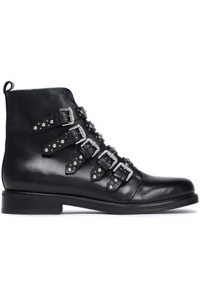 MAJE Buckled studded leather ankle boots