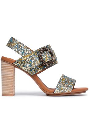 SEE BY CHLOÉ Buckle-embellished painted glittered leather sandals