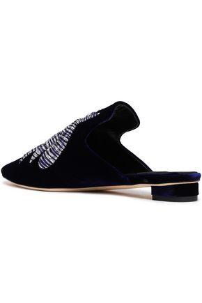 SANAYI 313 Metallic embroidered velvet slippers