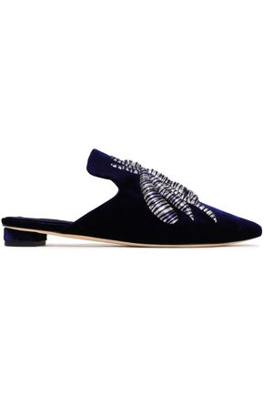 SANAYI 313 Metallic embroidered velvet slippers