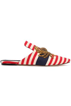 SANAYI 313 Metallic embroidered striped canvas slippers