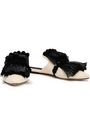 SANAYI 313 Pompom-embellished fringed raffia and canvas slippers