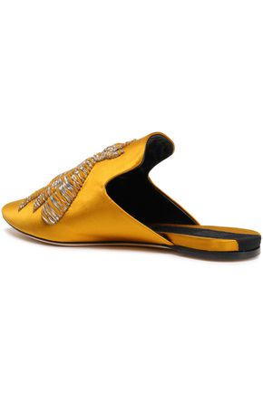SANAYI 313 Embroidered metallic satin slippers