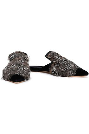 SANAYI 313 Faux feather-embellished embroidered velvet slippers