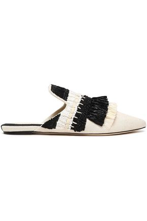 SANAYI 313 Fringed raffia and canvas slippers