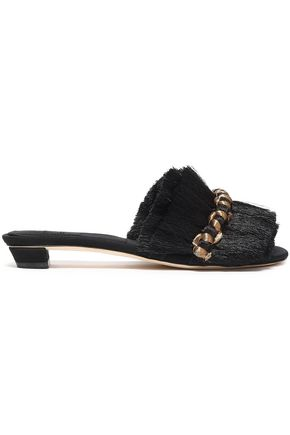 SANAYI 313 Fringed embroidered woven mules