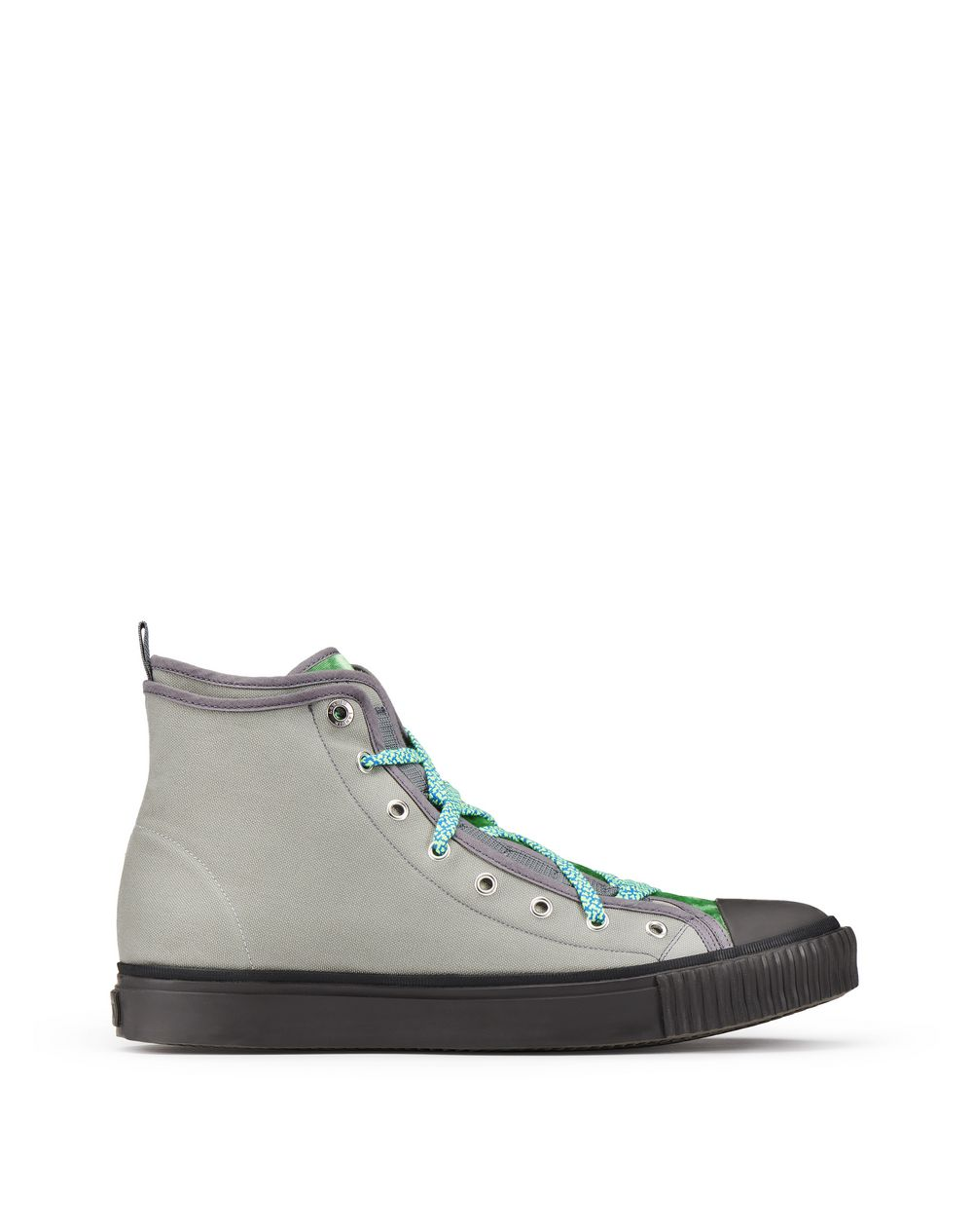 CANVAS AND VELVET HIGH-TOP SNEAKER - Lanvin