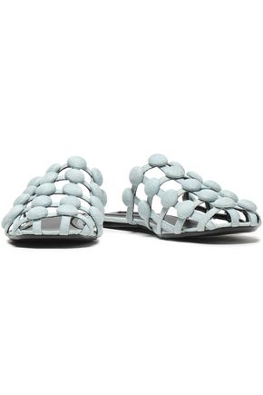 ALEXANDER WANG Embellished leather slippers