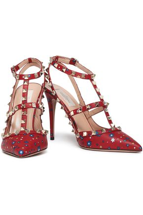 VALENTINO GARAVANI Rockstud printed leather pumps