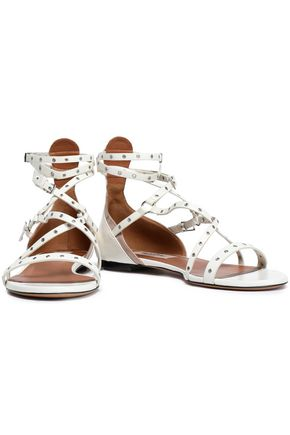 VALENTINO GARAVANI Love Latch eyelet-embellished leather sandals
