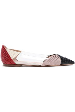 VALENTINO GARAVANI Color-block ruched leather and PVC point-toe flats