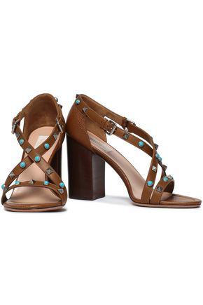 VALENTINO GARAVANI Embellished textured-leather sandals
