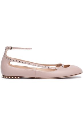 VALENTINO GARAVANI Crystal-studded cutout leather ballet flats