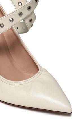 VALENTINO GARAVANI Eyelet-embellished leather pumps