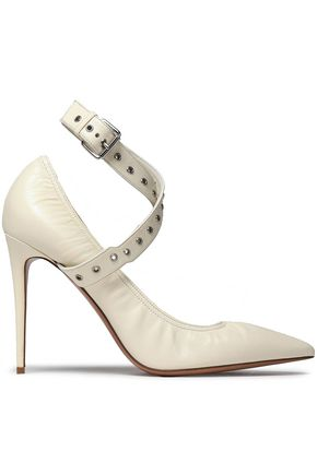 VALENTINO GARAVANI Eyelet-embellished leather pumps