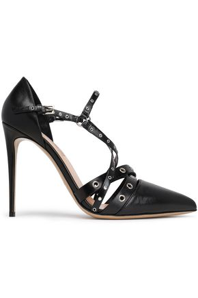 VALENTINO GARAVANI Eyelet-embellished textured-leather pumps