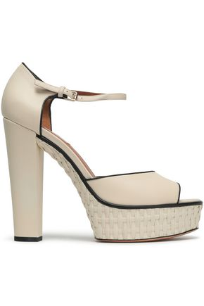VALENTINO GARAVANI Leather and raffia sandals