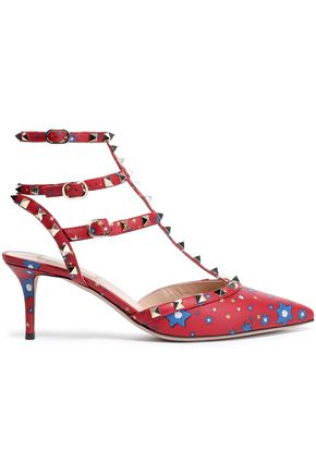VALENTINO GARAVANI Studded floral-print leather pumps