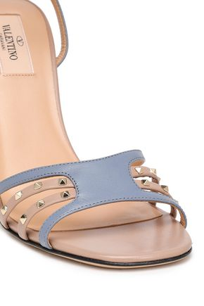 VALENTINO GARAVANI Studded two-tone leather sandals