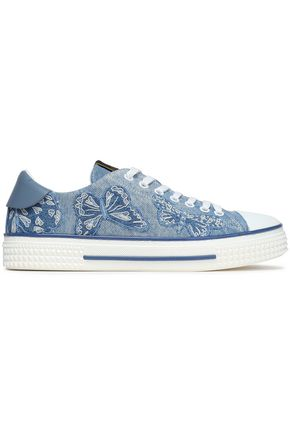 VALENTINO GARAVANI Leather-trimmed embroidered denim sneakers