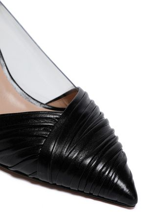 VALENTINO GARAVANI PVC and gathered leather pumps
