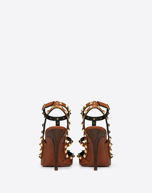 Туфли с ремешками Rockstud из зернистой телячьей кожи, каблук 100 мм