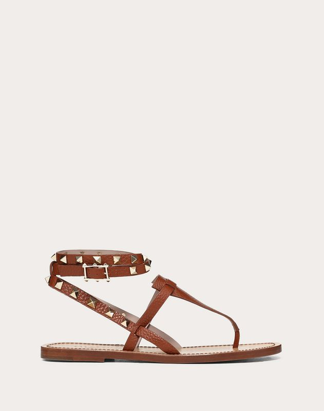 Grainy Leather Ankle Strap Flip Flop Sandal 5 mm