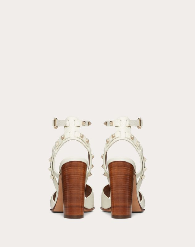 Grainy Leather Ankle Strap Sandal 100 mm