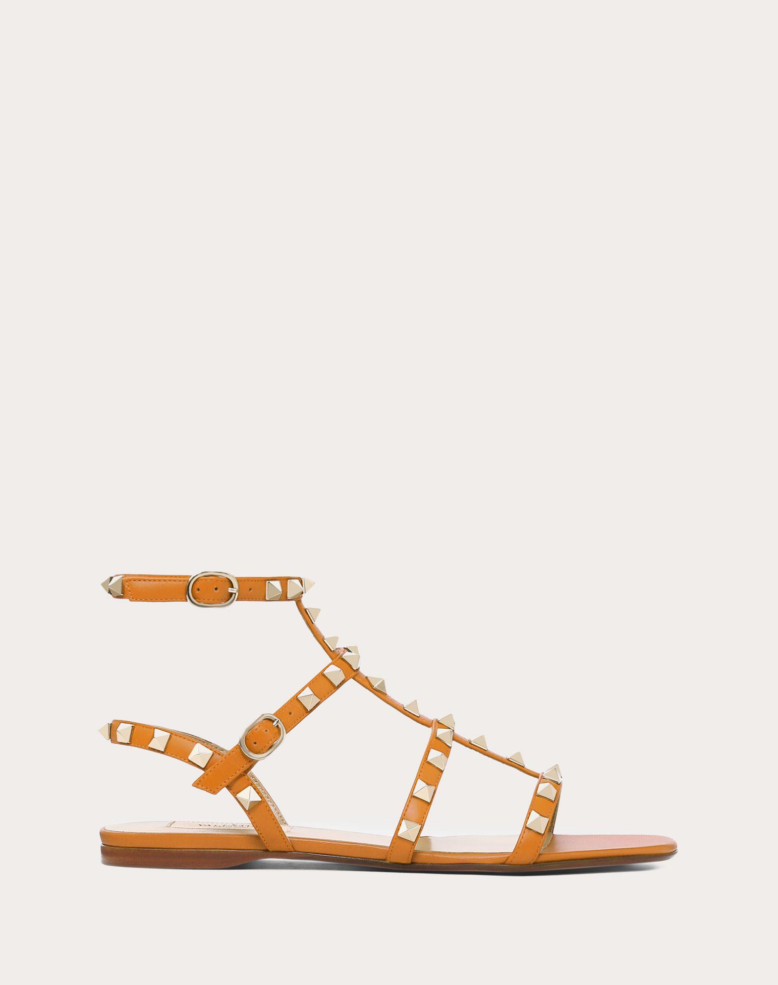 Sandalo basso Rockstud in vitello con cinturini