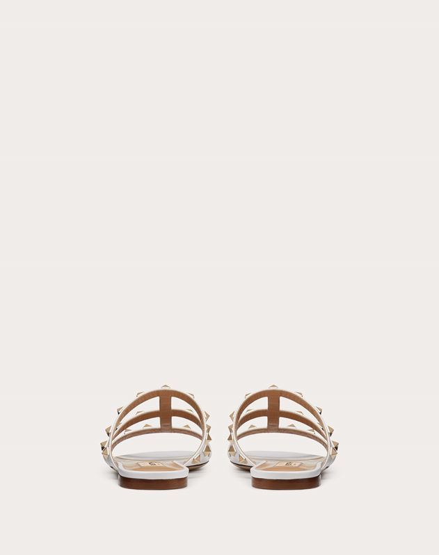 Rockstud Calfskin Leather Slide Sandal