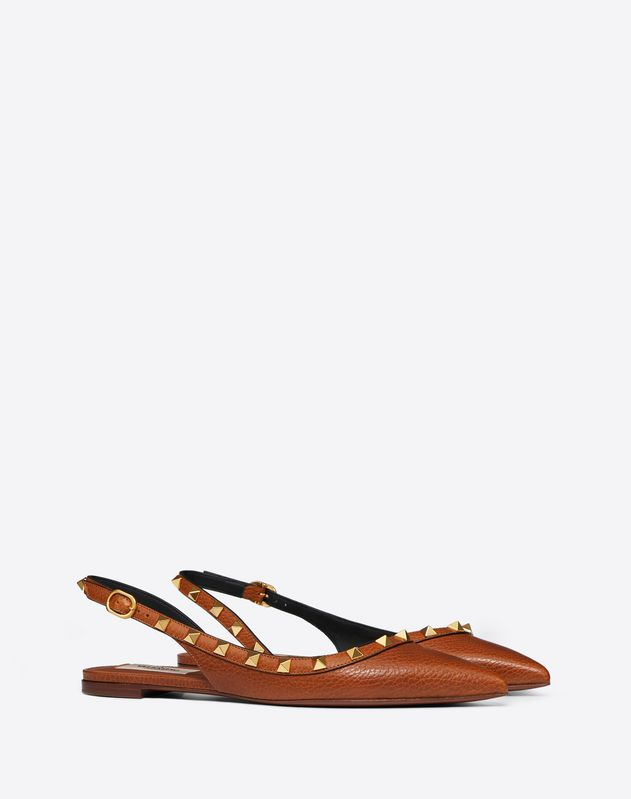 Rockstud Grainy Leather Slingback Ballet Flat