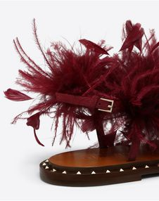 Flat Suede Sandal with Feather Details