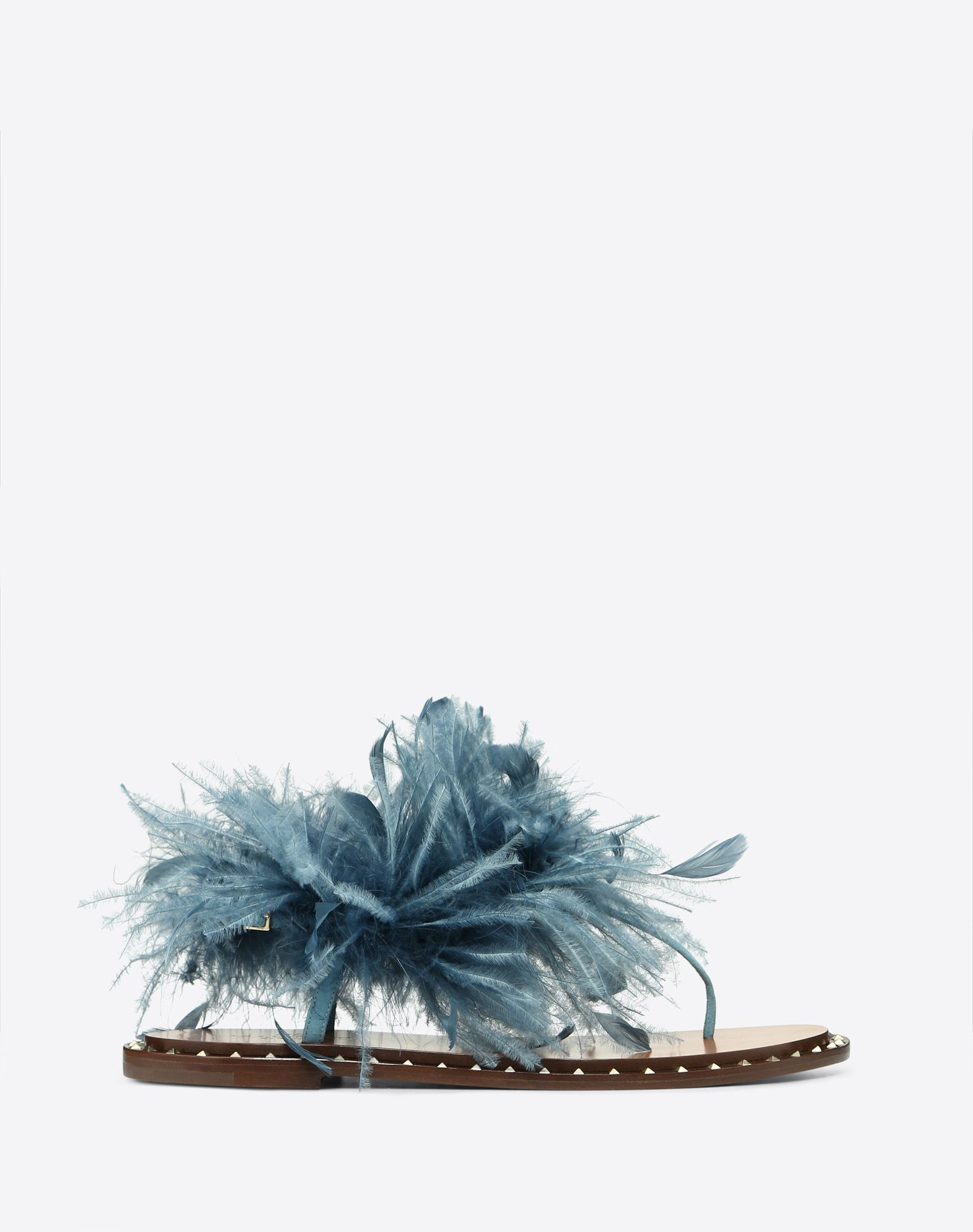 Flat Suede Flip Flop Sandal with Feather Details