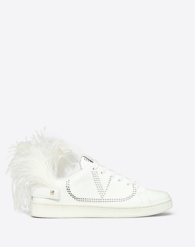 Leather BACKNET sneaker with Feathers