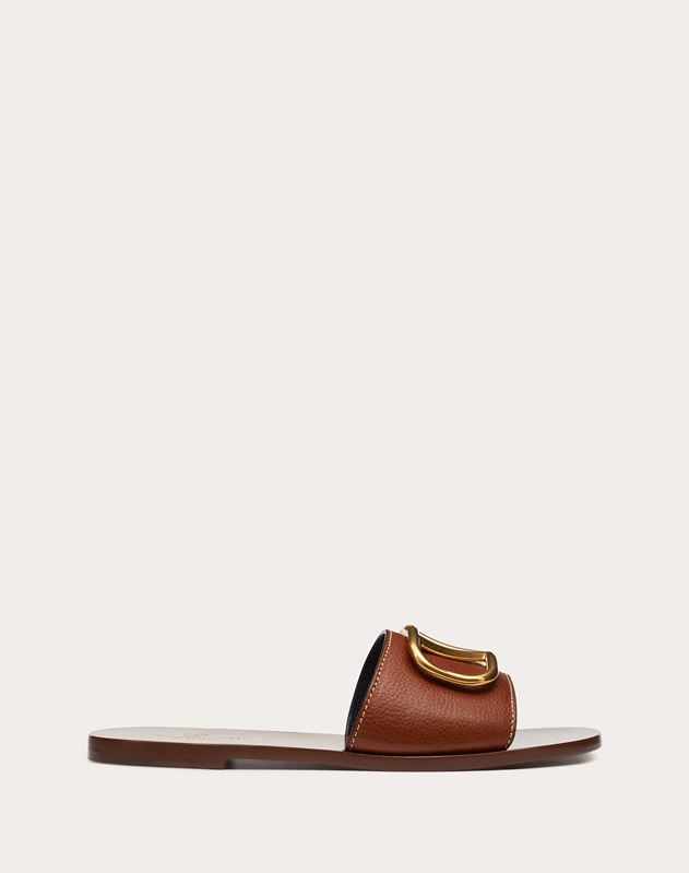 Cowhide Slide Sandal with Go Logo Detail