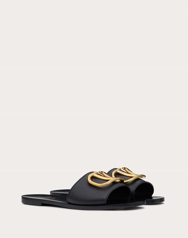 Cowhide Slide Sandal with VLOGO Detail